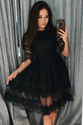 ZY416 Cocktail Dresses Short Black Evening Dresses With Sleeves_1