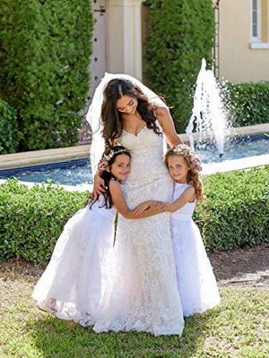 A Line Wedding Pageant Lace Flower Girl Dress With Belt 2-12 Year Old &Amp;;White, Custom Size&Amp;;_4