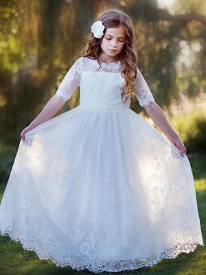 Princess / A-Line Floor Length Wedding / Party Flower Girl Dresses - Lace / Tulle Long Sleeve Jewel Neck With Tier / Flower / Solid_5