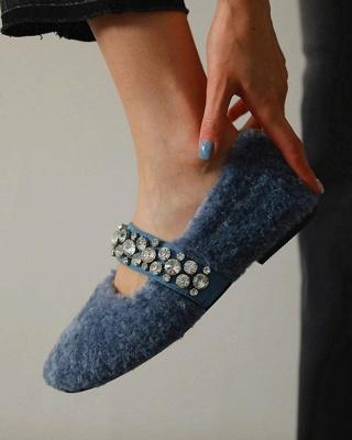 FFT224 Women's Solid Fluffy Crystal Bandage Upper Loafer_7