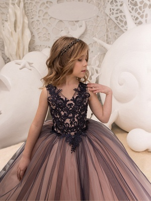 Ball Gown Maxi Birthday / Pageant Flower Girl Dresses - Tulle / Satin Chiffon Sleeveless V Neck With Lace / Embroidery / Appliques_3