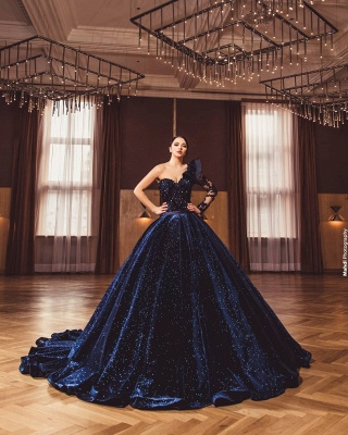 ZY385 Princess Evening Dresses With Sleeves Long Glitter Prom Dresses_4