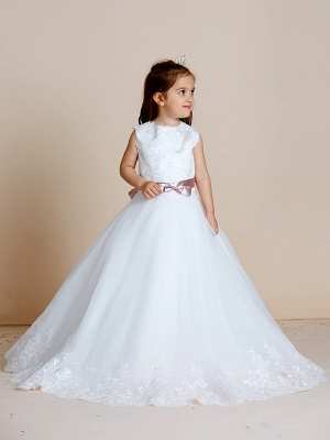 A-Line Floor Length Wedding / First Communion Flower Girl Dresses - Satin / Tulle Sleeveless Jewel Neck With Sash / Ribbon / Bow(S) / Appliques_4