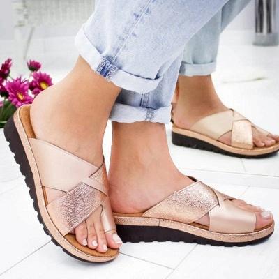 FFT445 Women Fashion Retro Colorblock Platform Slippers_1