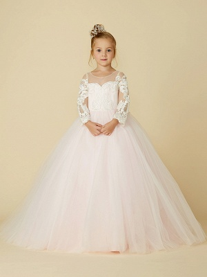 Ball Gown Court Train Wedding / Party / Pageant Flower Girl Dresses - Lace / Tulle Long Sleeve Illusion Neck With Bows / Bow(S) / Buttons_1