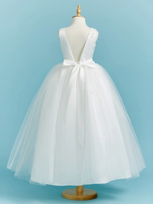 Ball Gown Crew Neck Floor Length Lace / Tulle Junior Bridesmaid Dress With Sash / Ribbon / Pleats / Beading_2