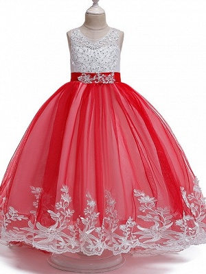 Princess / Ball Gown Court Train Wedding / Party Flower Girl Dresses - Tulle Sleeveless Jewel Neck With Bow(S) / Beading / Appliques_3