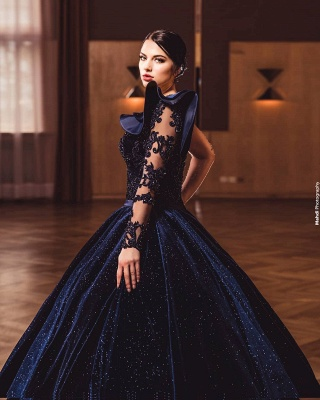 ZY385 Princess Evening Dresses With Sleeves Long Glitter Prom Dresses_3