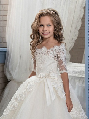 Ball Gown Floor Length Christmas / Wedding / Pageant Flower Girl Dresses - Cotton / Nylon With A Hint Of Stretch / Organza / Tulle Half Sleeve Boat Neck With Lace / Bow(S) / Appliques_2