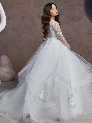 Ball Gown Court Train Wedding / Party Flower Girl Dresses - Poly Long Sleeve Jewel Neck With Lace / Tier / Appliques_4