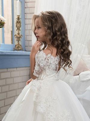 Ball Gown Floor Length Christmas / Wedding / Pageant Flower Girl Dresses - Cotton / Nylon With A Hint Of Stretch / Organza / Tulle Half Sleeve Boat Neck With Lace / Bow(S) / Appliques_3