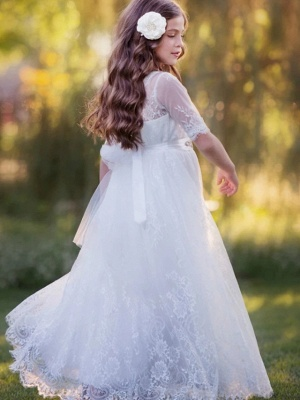 Princess / A-Line Floor Length Wedding / Party Flower Girl Dresses - Lace / Tulle Long Sleeve Jewel Neck With Tier / Flower / Solid_3