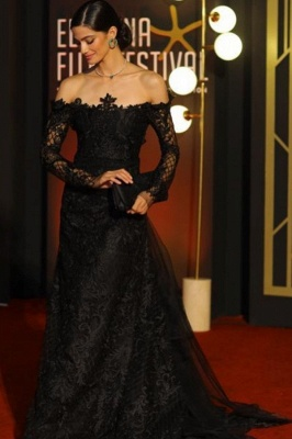 ZY363 Elegant Lace Evening Dresses With Sleeves Long Black Prom Dresses_1