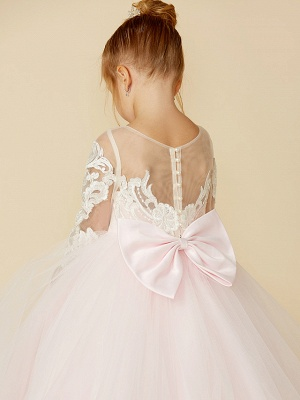 Ball Gown Court Train Wedding / Party / Pageant Flower Girl Dresses - Lace / Tulle Long Sleeve Illusion Neck With Bows / Bow(S) / Buttons_8