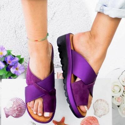 FFT445 Women Fashion Retro Colorblock Platform Slippers_4