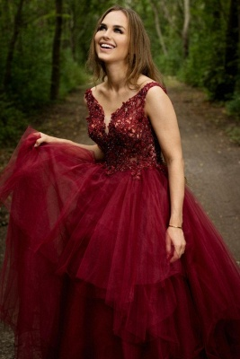 ZY444 Elegant Evening Dresses Long V Neck Red Prom Dresses_1