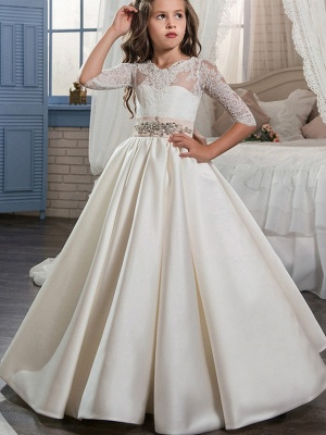 Ball Gown Sweep / Brush Train Wedding / Birthday / Pageant Flower Girl Dresses - Lace / Satin Half Sleeve V Neck With Beading / Appliques / Crystals / Rhinestones_1