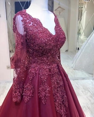 ZY436 Modern Evening Dresses With Sleeves Red Prom Dresses Cheap_3