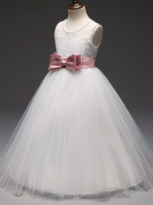 Princess Long Length Flower Girl Dress - Tulle / Mikado Sleeveless Jewel Neck With Bow(S) By Lan Ting Express_4