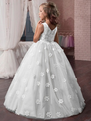 Princess Long Length Wedding / First Communion / Pageant Flower Girl Dresses - Tulle / Mikado Sleeveless Jewel Neck With Appliques_2