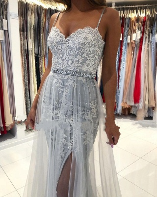 ZY368 Silver Evening Dresses Long Cheap Prom Dresses With Lace_4