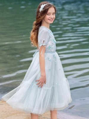 Princess / A-Line Knee Length Wedding / Party Flower Girl Dresses - Tulle Half Sleeve Jewel Neck With Appliques / Solid_3
