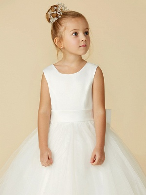 A-Line Floor Length Wedding / First Communion Flower Girl Dresses - Satin / Tulle Sleeveless Jewel Neck With Bow(S) / Buttons_9