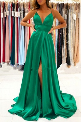ZY367 Evening Dresses Long Cheap Dark Green Prom Dresses Online_1