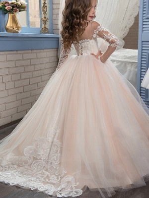 Ball Gown Sweep / Brush Train Wedding / Birthday / Pageant Flower Girl Dresses - Lace / Tulle Long Sleeve Off Shoulder With Lace / Embroidery / Appliques_3