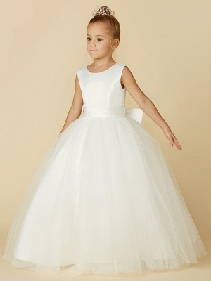 A-Line Floor Length Wedding / First Communion Flower Girl Dresses - Satin / Tulle Sleeveless Jewel Neck With Bow(S) / Buttons_3