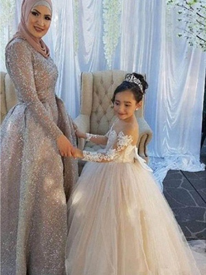 Ball Gown Sweep / Brush Train Wedding / First Communion / Pageant Flower Girl Dresses - Lace / Satin / Tulle Long Sleeve Boat Neck With Lace / Appliques_1