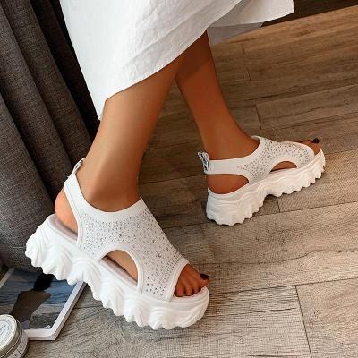 FFT444 Women Casual Flyknit Fabric Rhinestones Slip On Creepers Platform Sandals_9