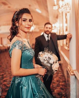 ZY382 Elegant Evening Dresses Green Prom Dresses Long Cheap_4