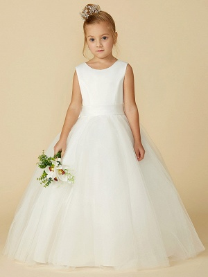 A-Line Floor Length Wedding / First Communion Flower Girl Dresses - Satin / Tulle Sleeveless Jewel Neck With Bow(S) / Buttons_1