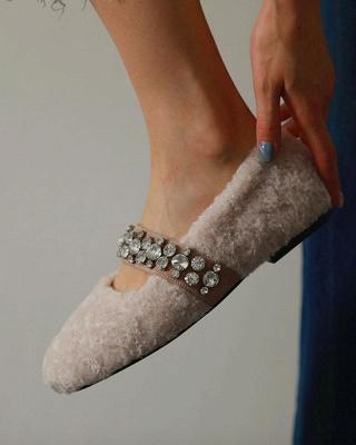 FFT224 Women's Solid Fluffy Crystal Bandage Upper Loafer_3