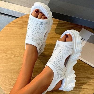 FFT444 Women Casual Flyknit Fabric Rhinestones Slip On Creepers Platform Sandals_8