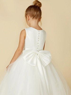 A-Line Floor Length Wedding / First Communion Flower Girl Dresses - Satin / Tulle Sleeveless Jewel Neck With Bow(S) / Buttons_10