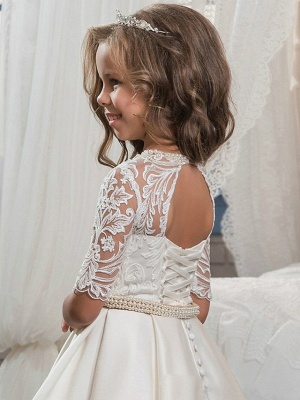 Ball Gown Sweep / Brush Train Wedding / Birthday / Pageant Flower Girl Dresses - Matte Satin Half Sleeve Jewel Neck With Embroidery / Bandage_2