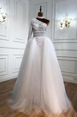 ZY435 Elegant Evening Dresses Long White Prom Dresses With Sleeves_1
