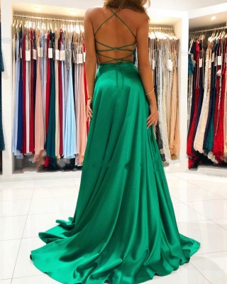 ZY367 Evening Dresses Long Cheap Dark Green Prom Dresses Online_2