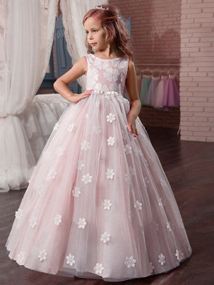 Princess Long Length Wedding / First Communion / Pageant Flower Girl Dresses - Tulle / Mikado Sleeveless Jewel Neck With Appliques_5