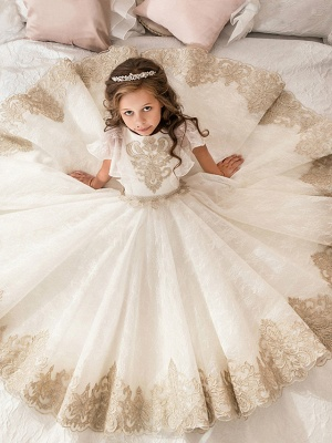 Ball Gown Floor Length Wedding / Birthday / Pageant Flower Girl Dresses - Lace / Tulle / Cotton Short Sleeve Jewel Neck With Lace / Beading / Embroidery_2