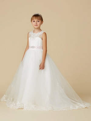 Princess Sweep / Brush Train Wedding / First Communion Flower Girl Dresses - Lace / Tulle Sleeveless Jewel Neck With Belt / Beading / Appliques_3