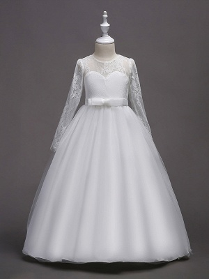 Princess Long Length Wedding / First Communion Flower Girl Dresses - Lace / Satin / Tulle Long Sleeve Jewel Neck With Lace / Belt_2