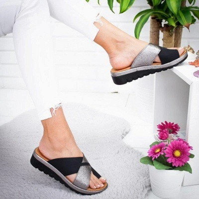 FFT445 Women Fashion Retro Colorblock Platform Slippers_8