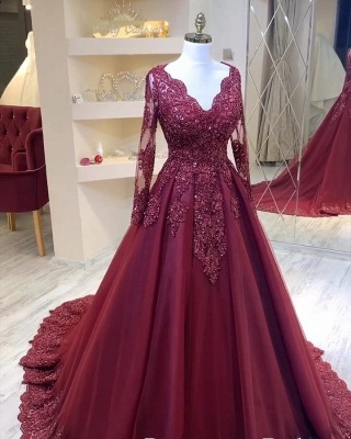 ZY436 Modern Evening Dresses With Sleeves Red Prom Dresses Cheap_2