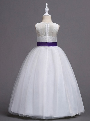 Princess / Ball Gown Floor Length Wedding / Party Flower Girl Dresses - Tulle Sleeveless Jewel Neck With Bow(S) / Beading / Embroidery_6