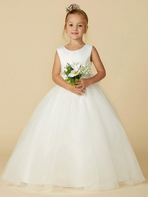 A-Line Floor Length Wedding / First Communion Flower Girl Dresses - Satin / Tulle Sleeveless Jewel Neck With Bow(S) / Buttons_5