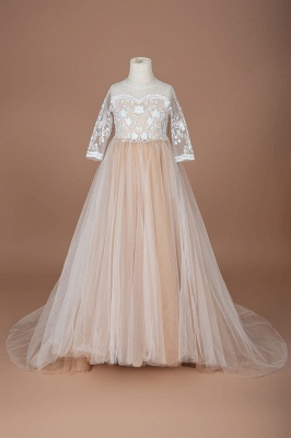 Princess Jewel Long Sleeves Lace Tulle Flower Girl Dresses with Bowknot_2