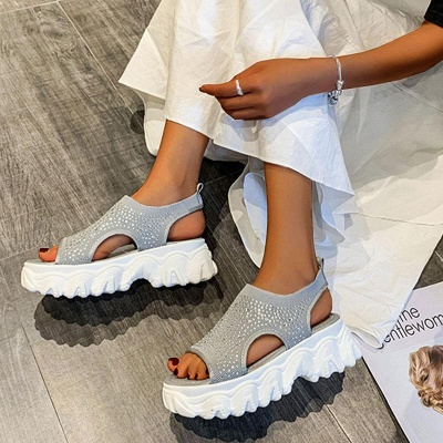 FFT444 Women Casual Flyknit Fabric Rhinestones Slip On Creepers Platform Sandals_10